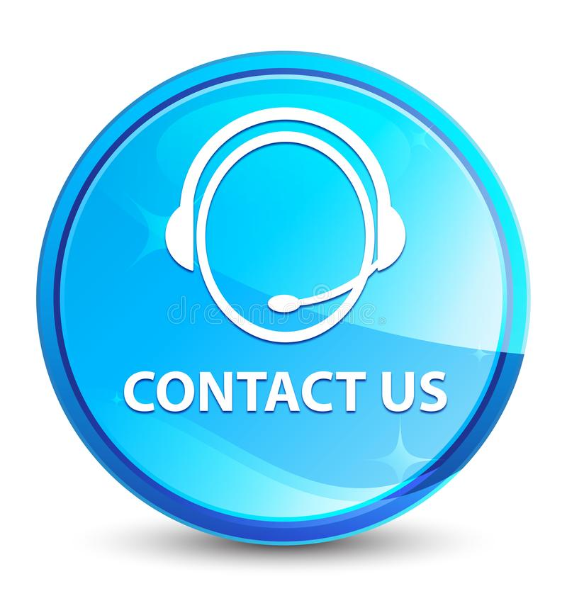 Contact us (customer care icon) splash natural blue round button. Contact us (customer care icon) isolated on splash natural blue round button abstract royalty free illustration
