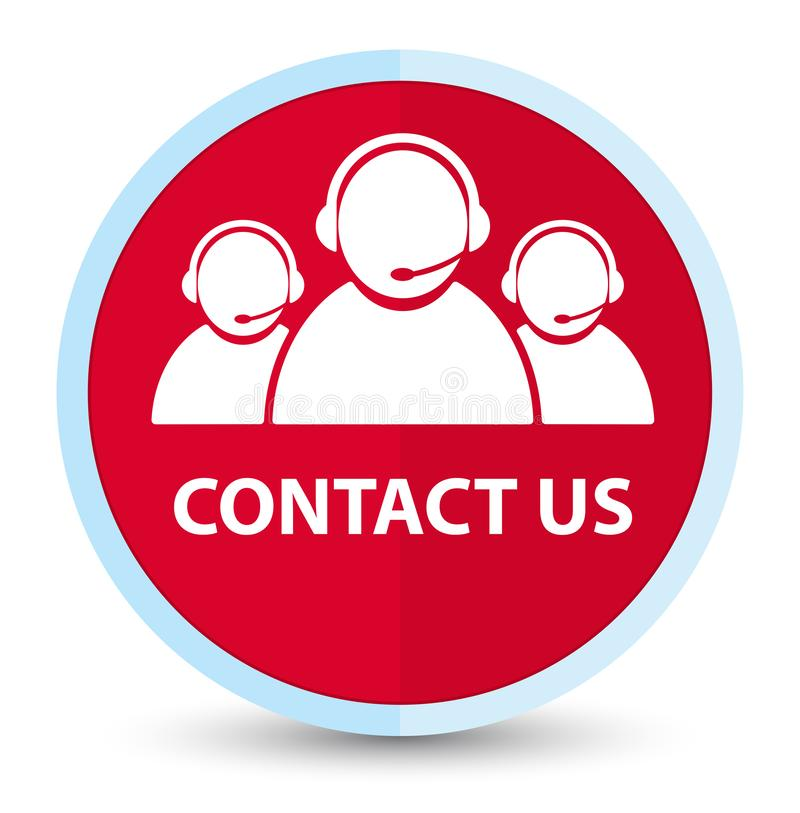 Contact us (customer care team icon) flat prime red round button. Contact us (customer care team icon) isolated on flat prime red round button abstract stock illustration