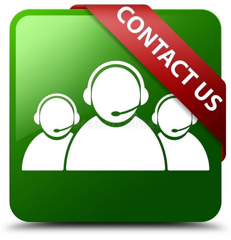 Contact us customer care team icon green square button vector illustration