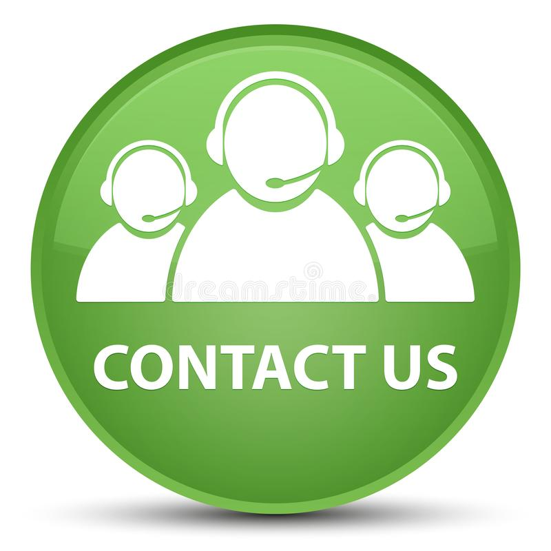 Contact us (customer care team icon) special soft green round bu stock illustration