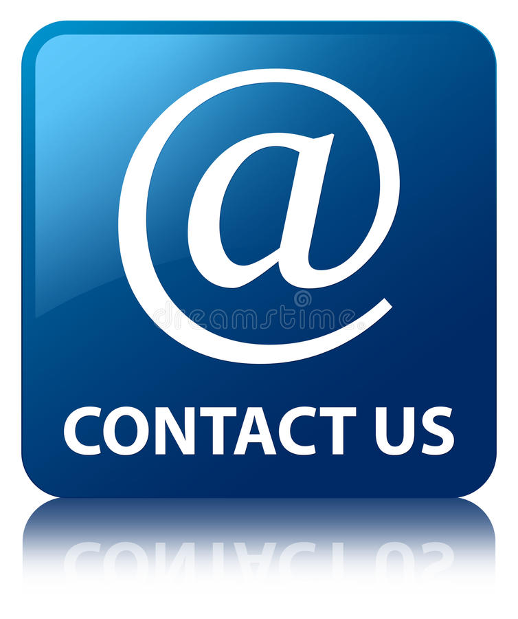 Contact us (email address icon) blue square button. Contact us (email address icon) isolated on blue square button reflected abstract illustration royalty free illustration