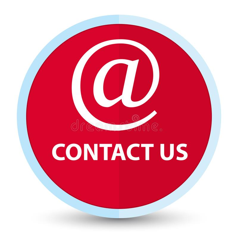 Contact us (email address icon) flat prime red round button stock illustration
