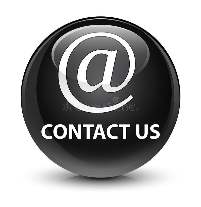 Contact us (email address icon) glassy black round button. Contact us (email address icon) isolated on glassy black round button abstract illustration royalty free illustration