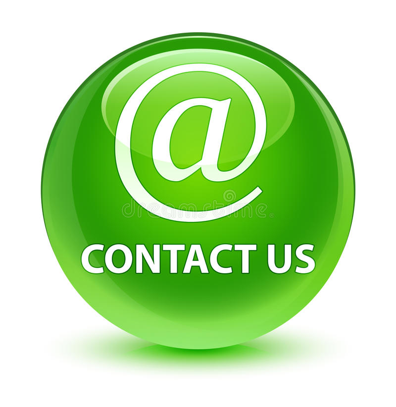 Contact us (email address icon) glassy green round button. Contact us (email address icon) isolated on glassy green round button abstract illustration vector illustration