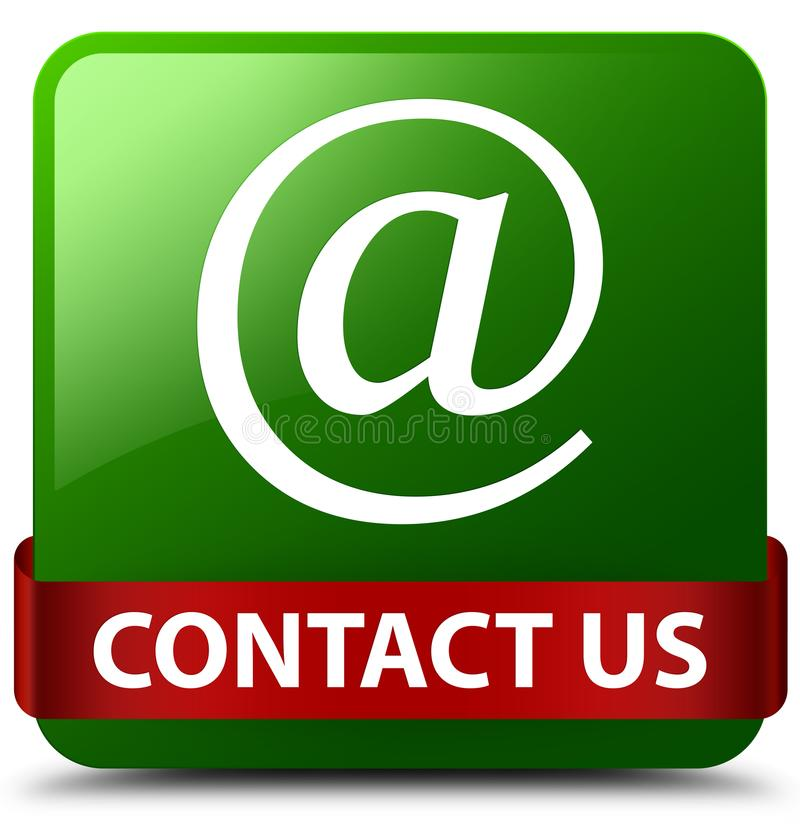 Contact us (email address icon) green square button red ribbon i. Contact us (email address icon) isolated on green square button with red ribbon in middle vector illustration