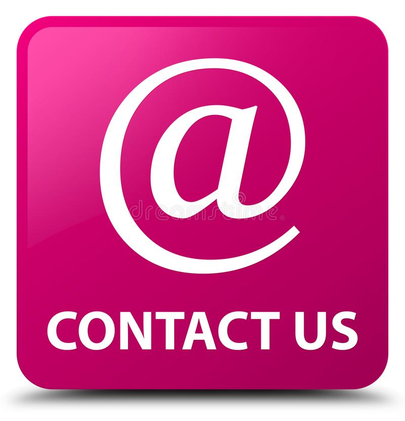 Contact us (email address icon) pink square button. Contact us (email address icon) isolated on pink square button abstract illustration stock illustration