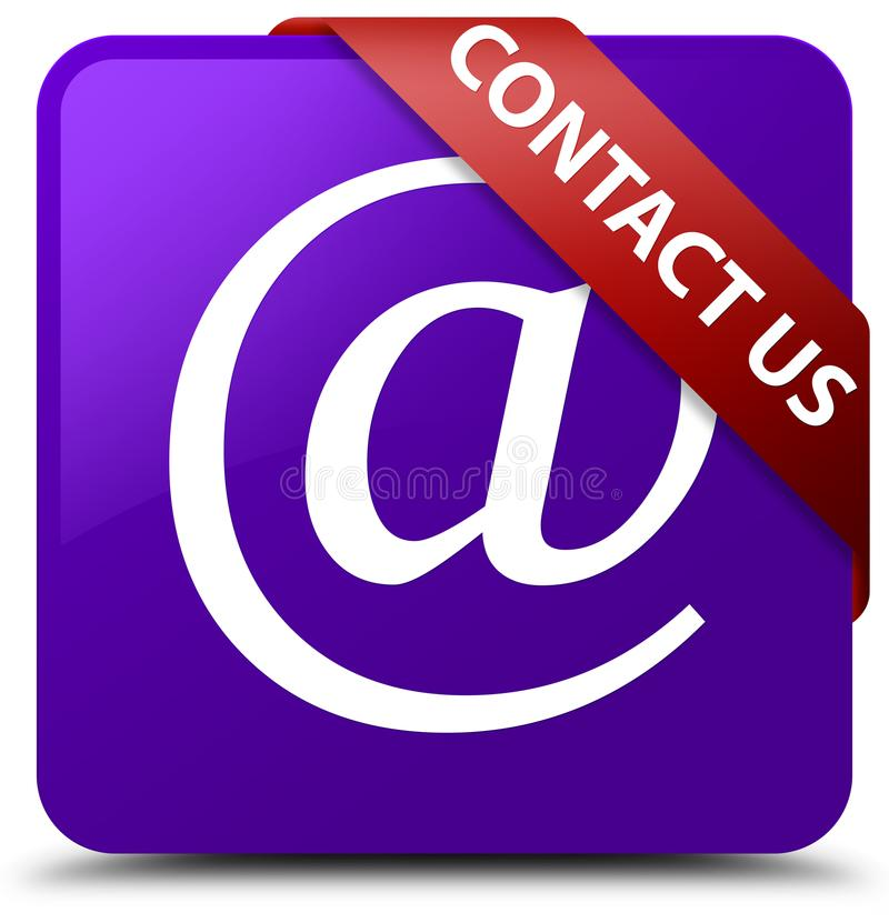 Contact us (email address icon) purple square button red ribbon. Contact us (email address icon) isolated on purple square button with red ribbon in corner vector illustration
