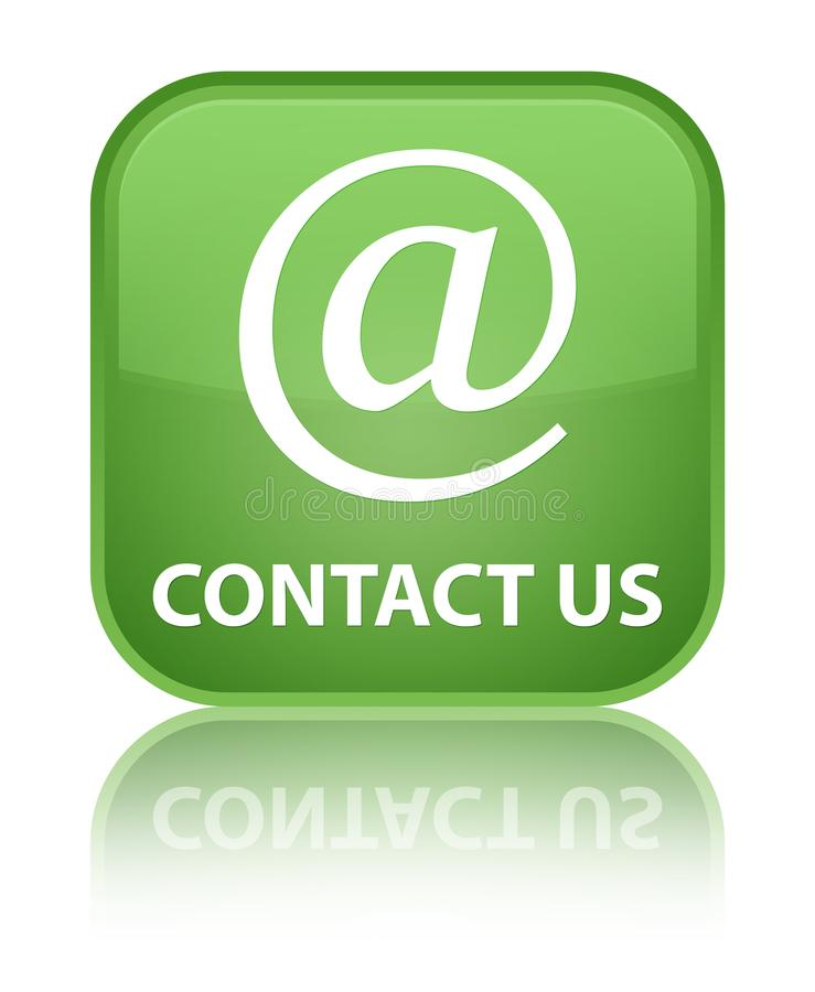 Contact us (email address icon) special soft green square button. Contact us (email address icon) isolated on special soft green square button reflected abstract royalty free illustration