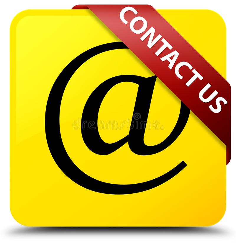 Contact us (email address icon) yellow square button red ribbon. Contact us (email address icon) isolated on yellow square button with red ribbon in corner vector illustration