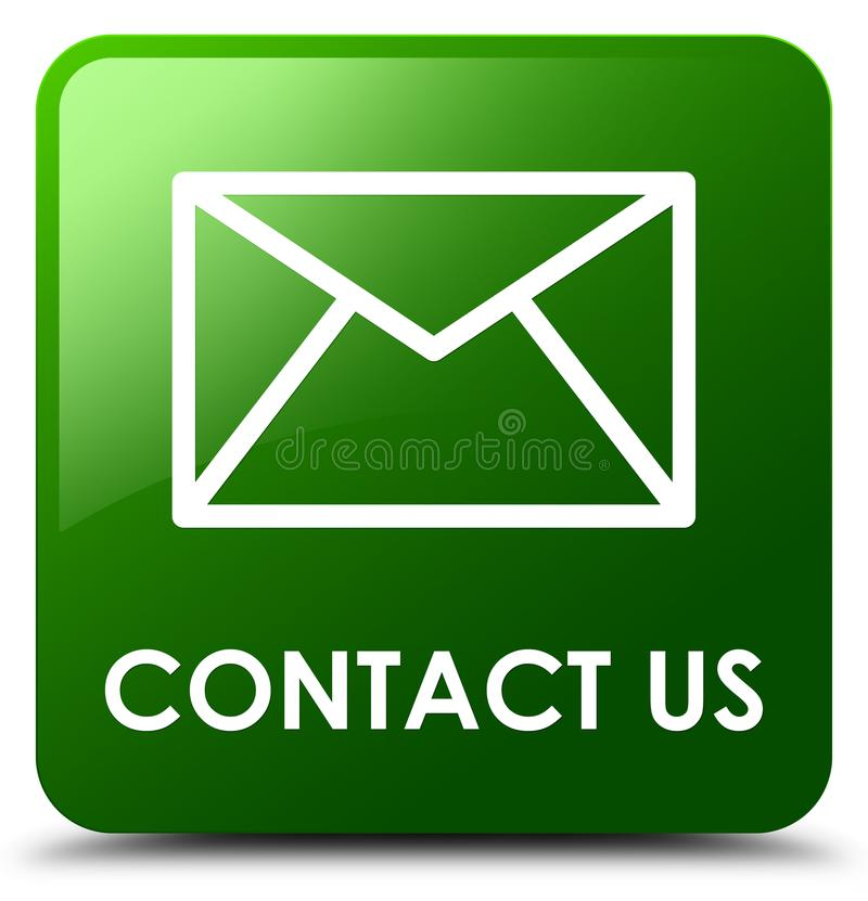 Contact us (email icon) green square button stock illustration