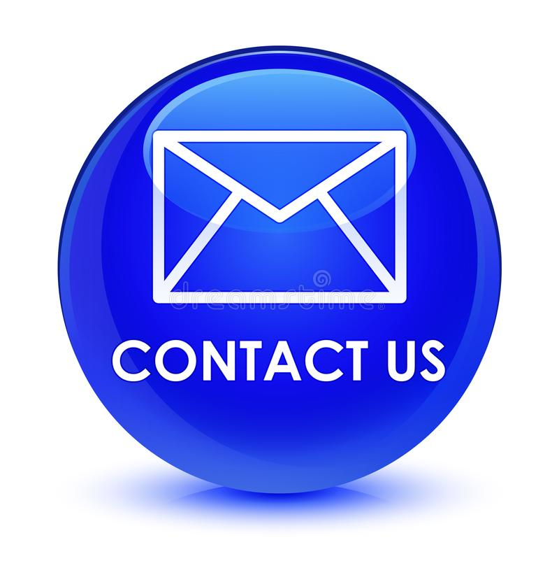 Contact us (email icon) glassy blue round button. Contact us (email icon) isolated on glassy blue round button abstract illustration vector illustration