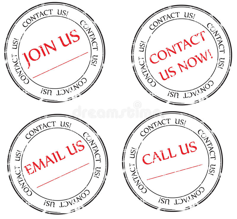 Contact us, Email us, Join us message on stamp royalty free stock image