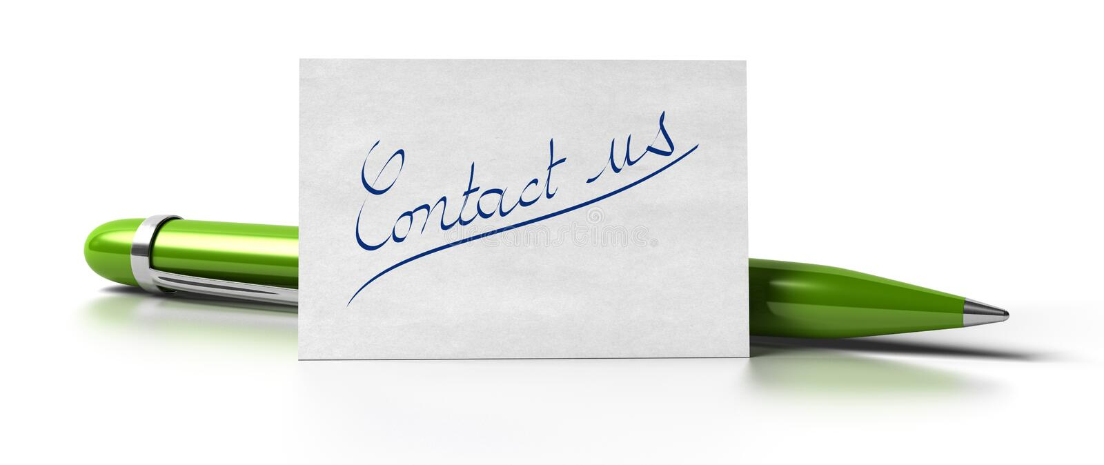 Contact us green pen vector illustration
