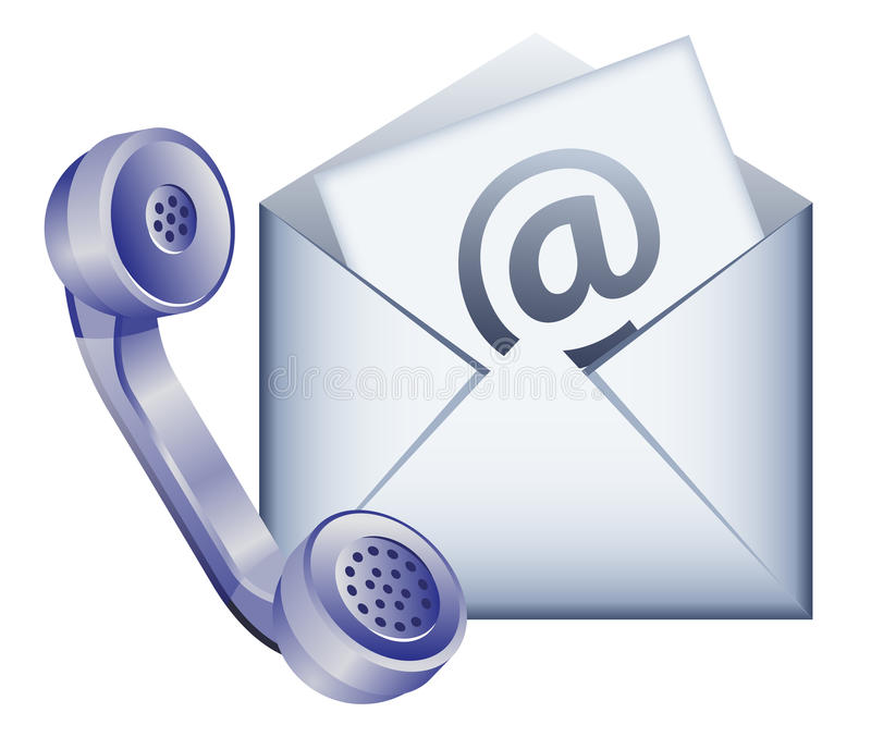 Contact us icon. Phone receiver and envelope - contact us by email icon