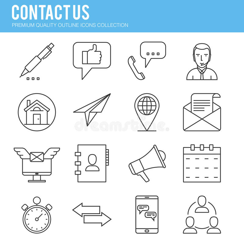 Contact us icon collection stock illustration