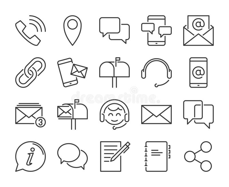Contact Us icon. Contact and communication line icons set. Editable stroke. Pixel Perfect. royalty free illustration