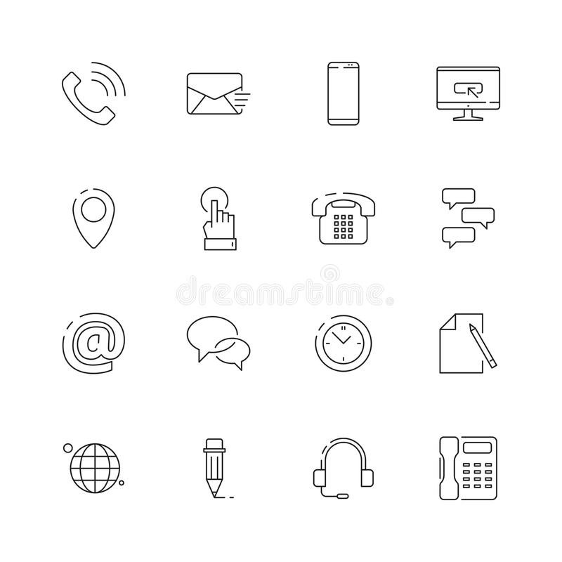 Contact us icon. Internet website business symbols for contact or support page telephone envelope map vector thin line. Pictures. Mail and phone, location web vector illustration