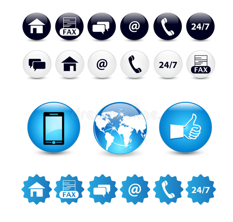Contact us icon set. Variety of contact us icons, buttons and stickers