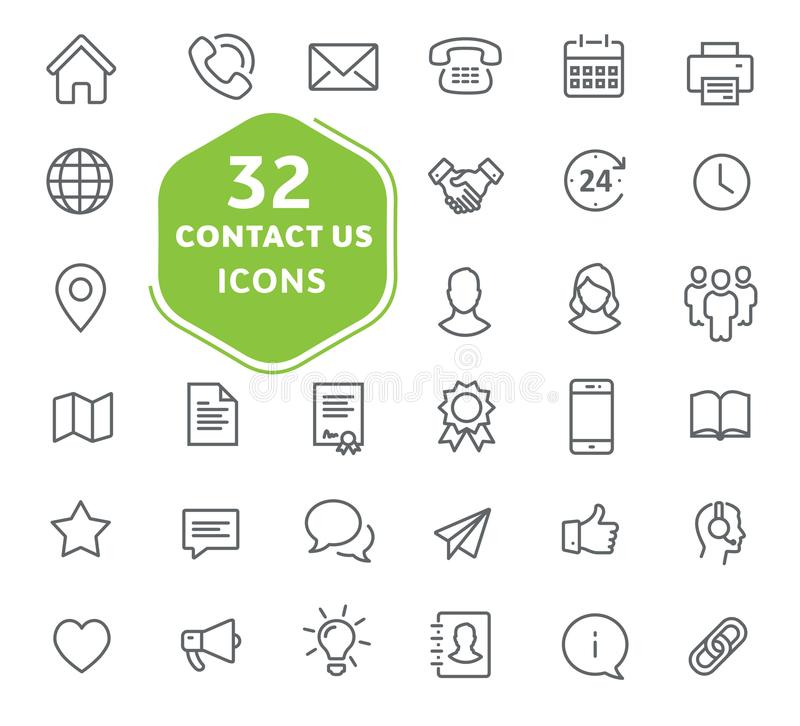 Contact us icons. Outline icons collection. royalty free illustration