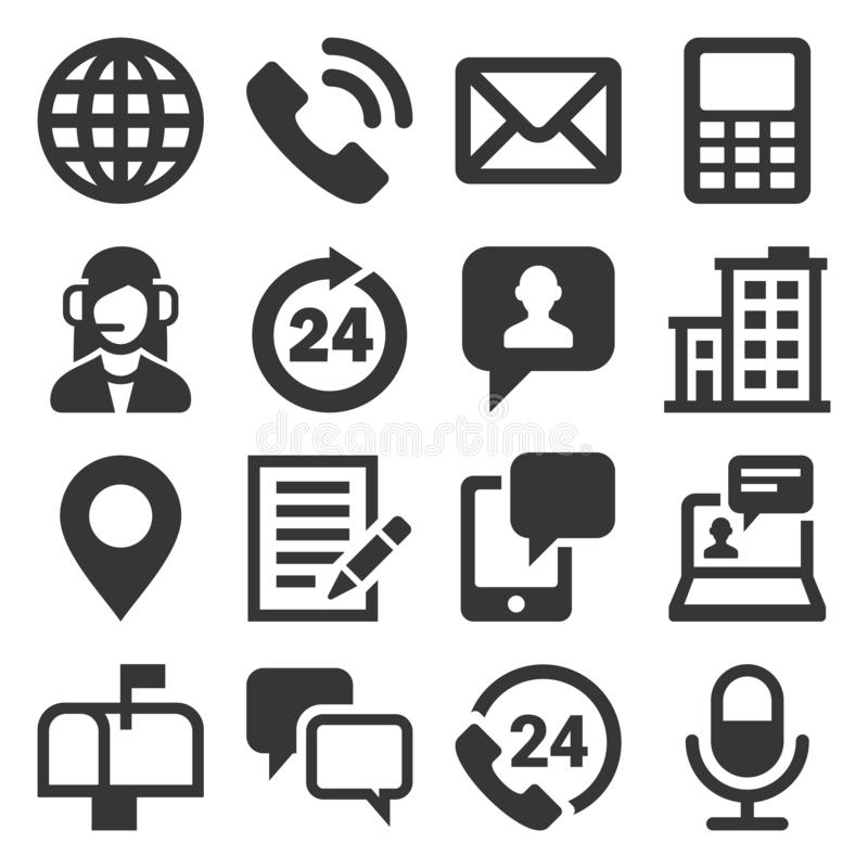 Contact Us Icons Set on White Background. Vector royalty free illustration