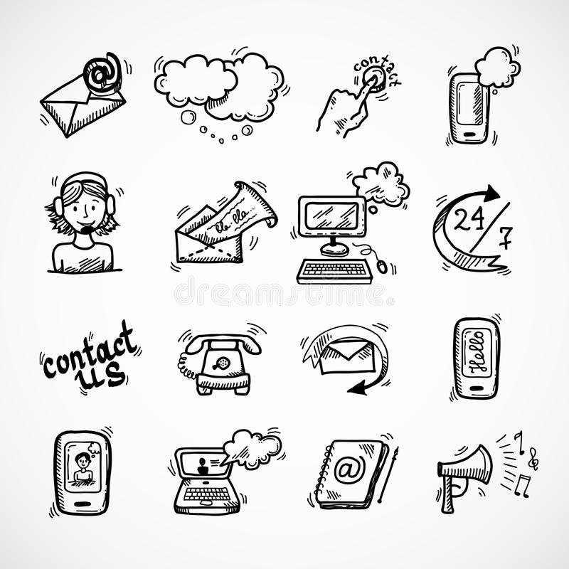 Contact Us Icons Sketch vector illustration