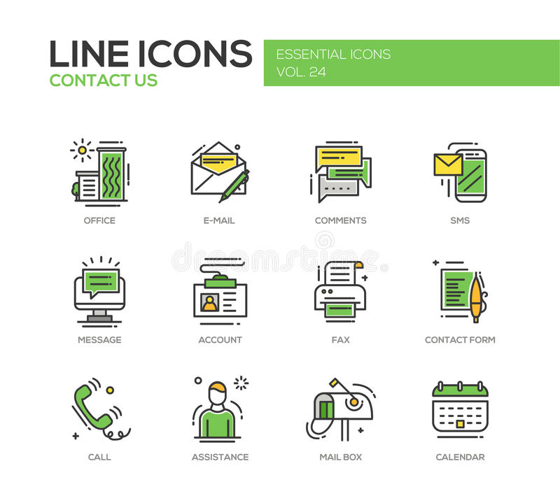 Contact Us Line Design Icons Set Stock Vector Illustration Of