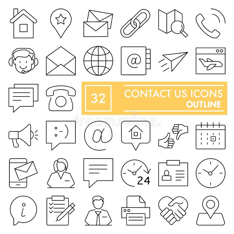 Contact us line icon set, connection symbols collection, vector sketches, logo illustrations, communication signs linear vector illustration