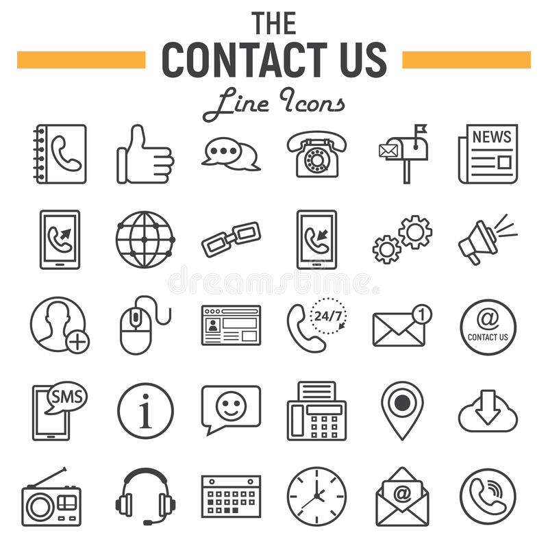 Contact us line icon set, web button signs vector illustration