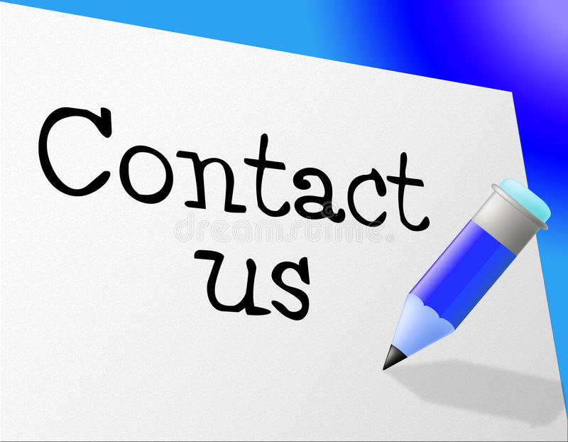 Contact Us Means Send Message And Communicate. Contact Us Indicating Send Message And Mailing stock illustration