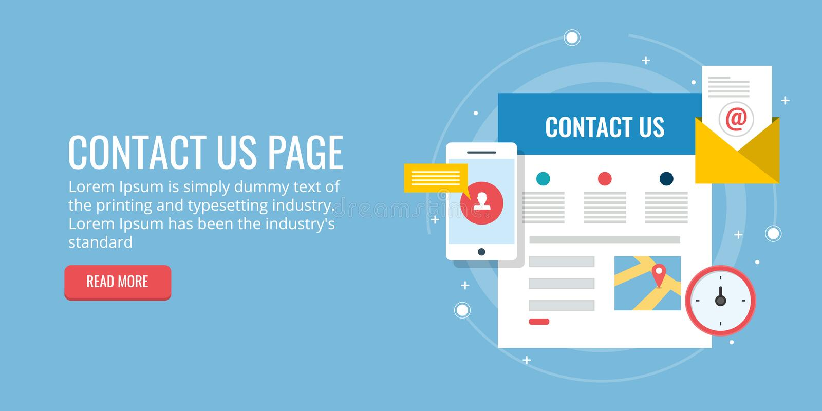 Contact us page - inquiry form - email contact - map concept. Flat design vector banner. Concept of contact page of a website, where people contact through an royalty free illustration