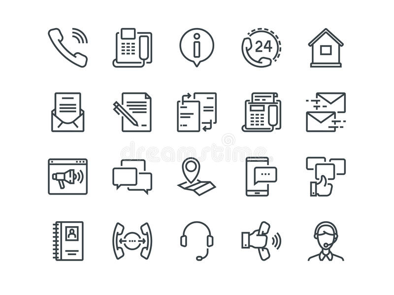 Contact us. Set of outline vector icons. Includes such as Operator, Support, Social and other. Editable Stroke. 48x48 stock illustration