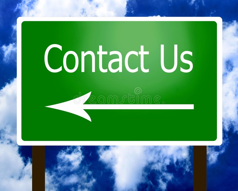 Contact Us sign guidepost LEFT. Contact Us sign guidepost and an arrow stock illustration