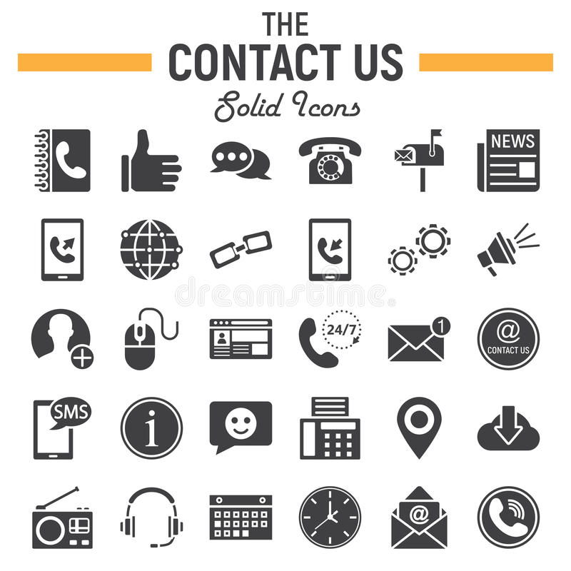 Contact us solid icon set, web button signs vector illustration