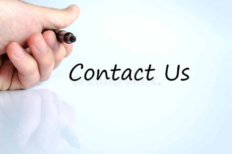 Contact us text concept. Business man hand writing contact us stock photo