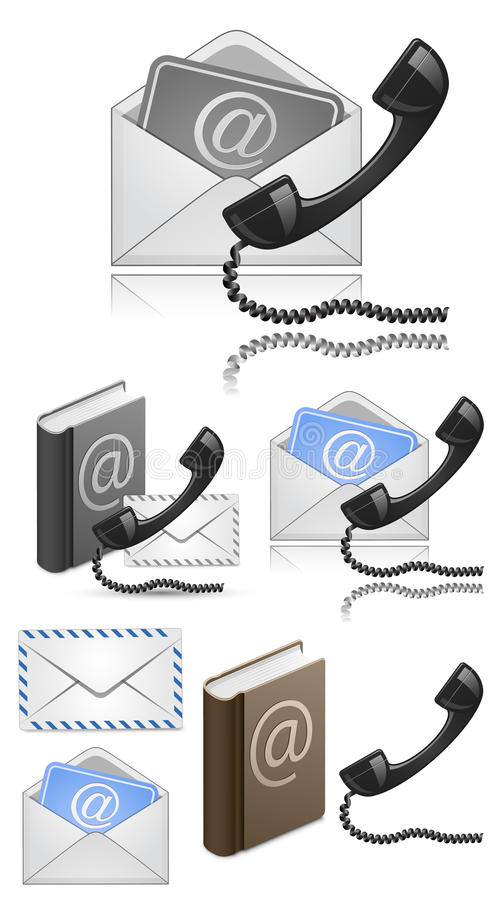 Contact Us Vector Icon Set Royalty Free Stock Photo
