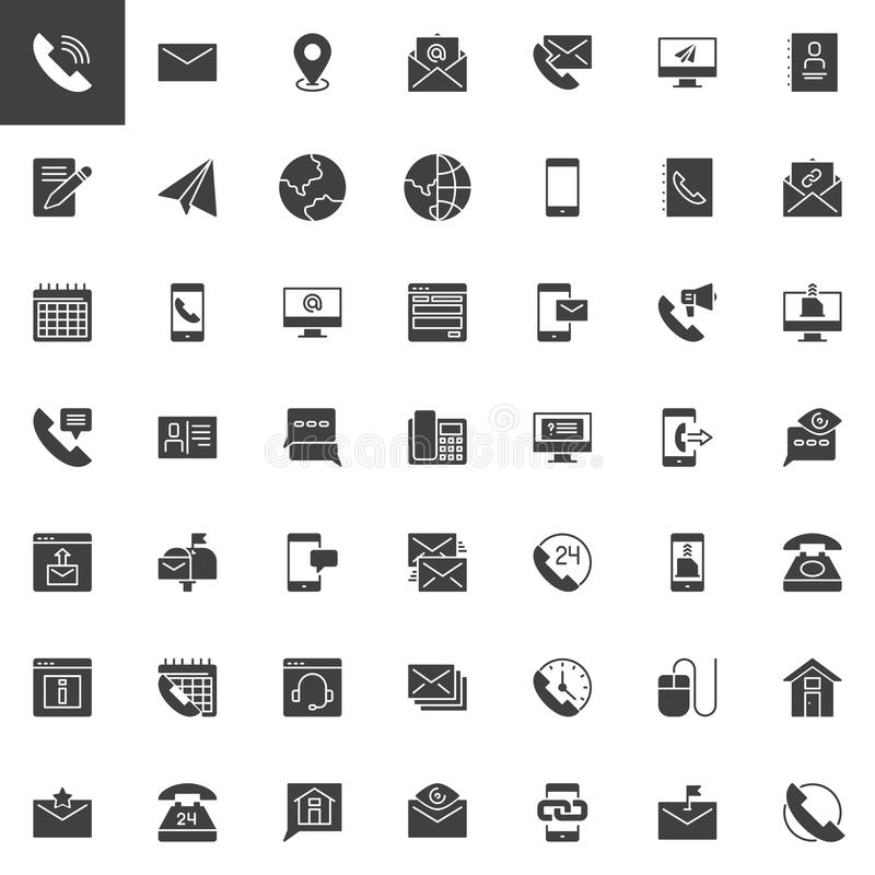 Contact us vector icons set royalty free illustration