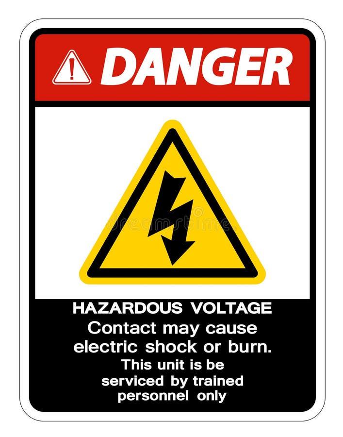Contact van het gevaars mag het Gevaarlijke Voltage Elektrische schok veroorzaken of het Brandwondteken isoleert op Witte Achterg vector illustratie
