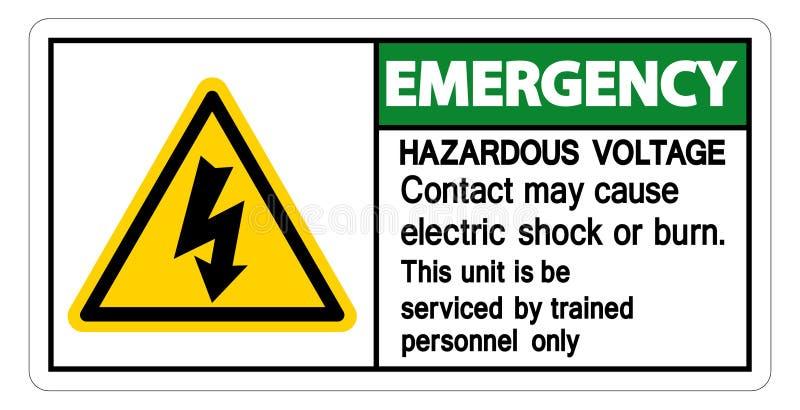 Contact van het noodsituatie mag het Gevaarlijke Voltage Elektrische schok veroorzaken of het Brandwondteken isoleert op Witte Ac royalty-vrije illustratie