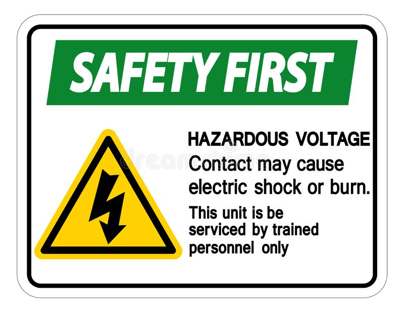 Contact van het veiligheids mag het eerste Gevaarlijke Voltage Elektrische schok veroorzaken of het Brandwondteken isoleert op Wi vector illustratie