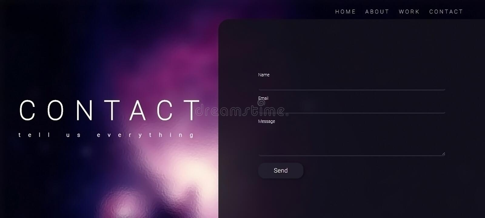 Contact Website page design With HTML and CSS.  vector illustration