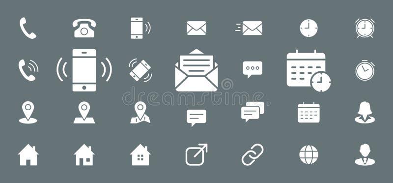 Contacta ícones - a Web ajustada e o móbil 03 ilustração do vetor
