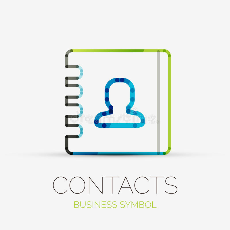 Contacta o logotipo da empresa, conceito do negócio ilustração do vetor