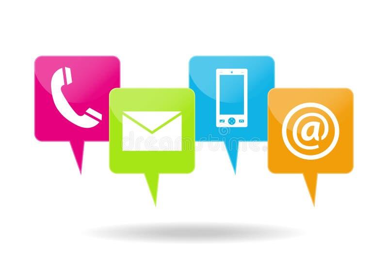 Contactando ícones ilustração stock
