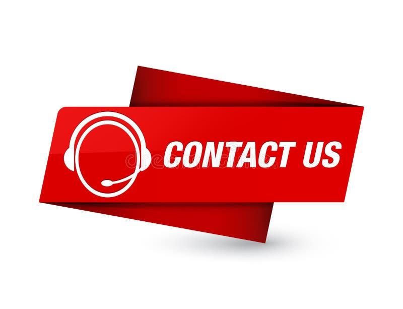 Contacte-nos (ícone do cuidado do cliente) sinal vermelho superior da etiqueta ilustração royalty free