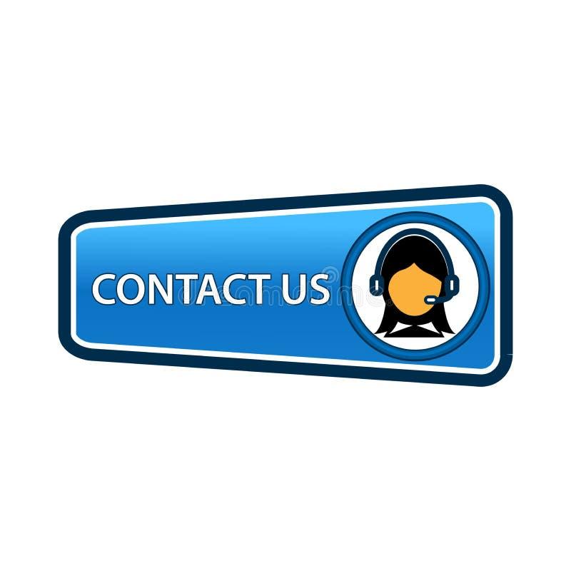 Contacte-nos botão com ícone das mulheres para o feedback coordenadas e endereço para o apoio ao cliente e a informação extra ilustração royalty free