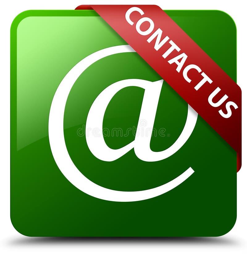 Contacte-nos botão do quadrado do verde do ícone do endereço email ilustração do vetor