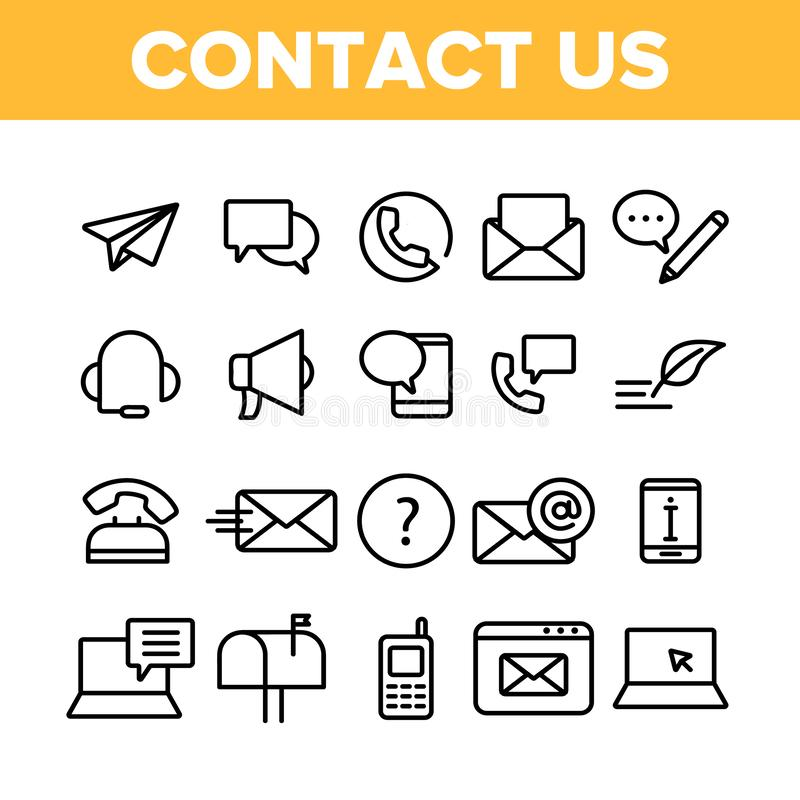 Contacte-nos, grupo linear dos ícones do vetor do centro de atendimento ilustração do vetor