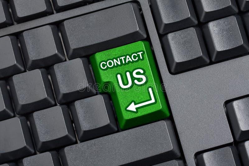 Contacte-nos o teclado de computador vazio chave imagem de stock