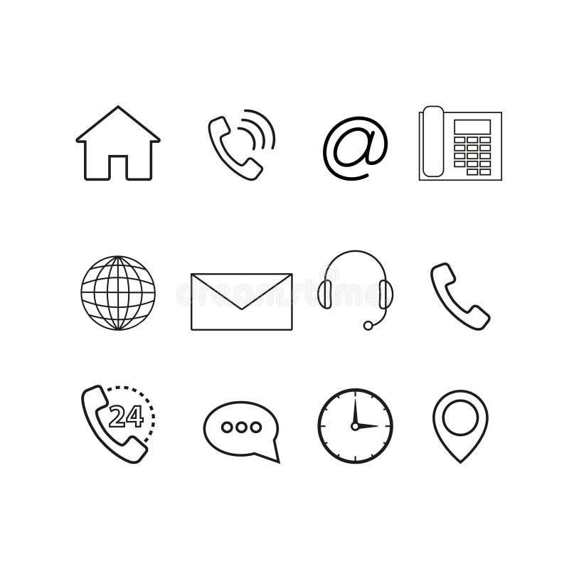 Contacte-nos os ícones ajustados ilustração stock