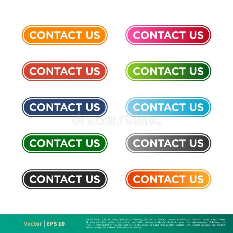 Contacte-nos para abotoar o projeto da ilustração do molde do vetor do ícone da etiqueta Vetor EPS 10 ilustração royalty free